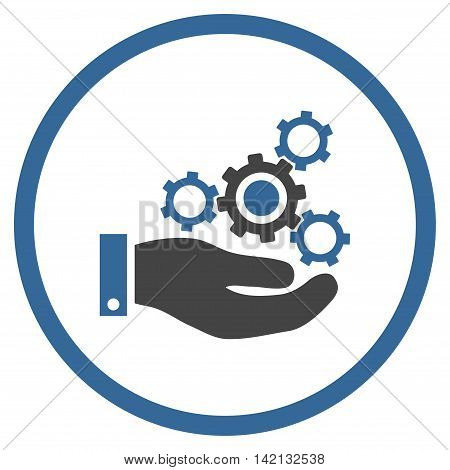 Mechanics Service vector icon. Style is bicolor flat rounded iconic symbol, mechanics service icon is drawn with cobalt and gray colors on a white background.