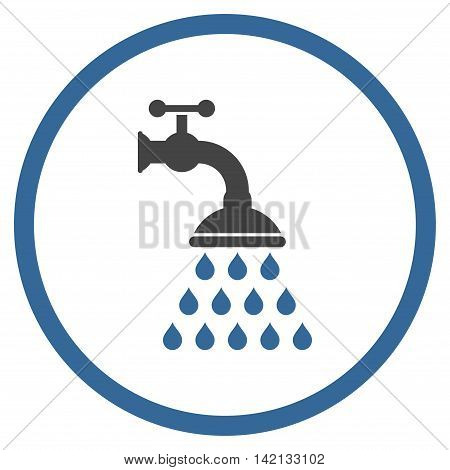 Shower Tap vector icon. Style is bicolor flat rounded iconic symbol, shower tap icon is drawn with cobalt and gray colors on a white background.