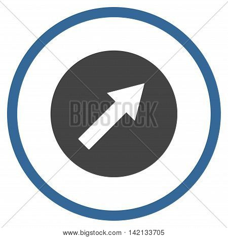 Up-Right Rounded Arrow vector icon. Style is bicolor flat rounded iconic symbol, up-right rounded arrow icon is drawn with cobalt and gray colors on a white background.