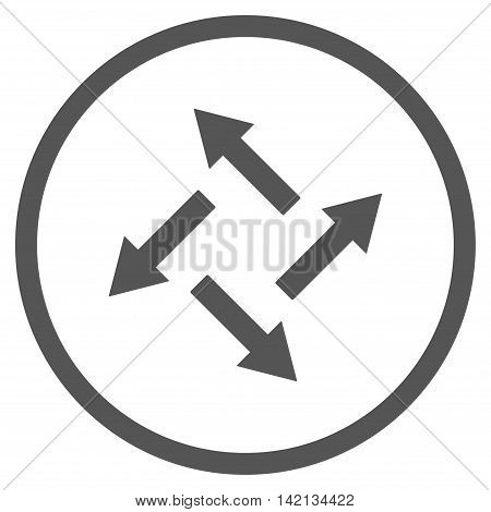 Centrifugal Arrows vector icon. Style is flat rounded iconic symbol, centrifugal arrows icon is drawn with gray color on a white background.