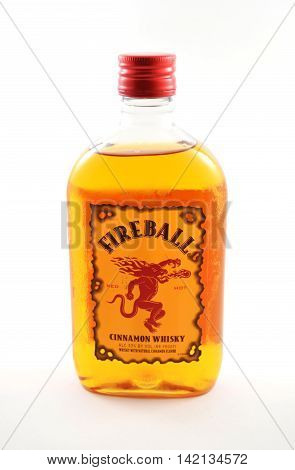 NEW YORK NY - AUGUST 10th 2016: Bottle of Fireball red hot cinammon whiskey