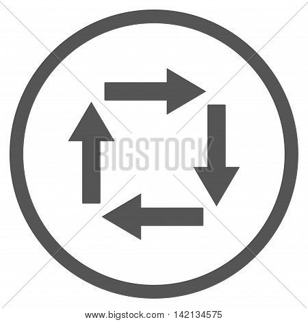 Circulation Arrows vector icon. Style is flat rounded iconic symbol, circulation arrows icon is drawn with gray color on a white background.