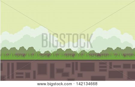 Flat backgrounds game scenery cartoon vvector illustration