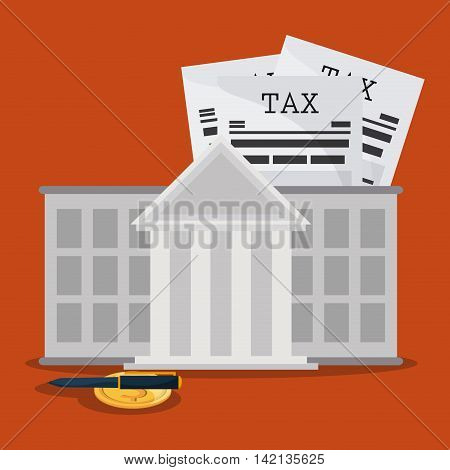 Tax and Financial item concept represented by document bank coin and pen icon. Colorfull and flat illustration
