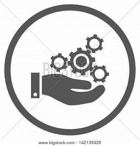 Mechanics Service vector icon. Style is flat rounded iconic symbol, mechanics service icon is drawn with gray color on a white background.