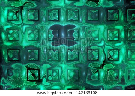 Rusty metal. Abstract geometric grunge background. Fantasy fractal texture in green teal black and grey colors.