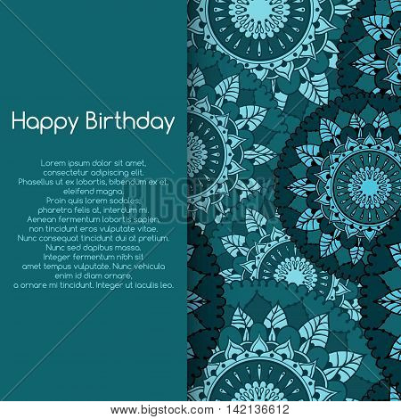 Card for birthday celebration with circular floral ornament. Seamless background with mandalas. Floral round pattern for the greeting cards invitation template frame design for business style cards or else. Vector illustration