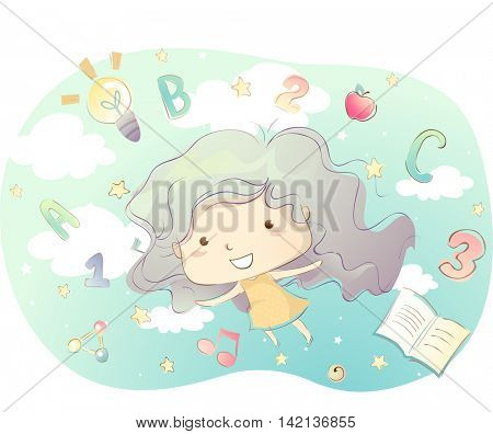 Illustration of a Little Girl Going on an Educational Adventure
