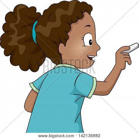 Illustration of a Little African Girl Using a Chalk to Write