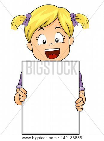 Illustration of a Caucasian Girl Holding a Blank Board