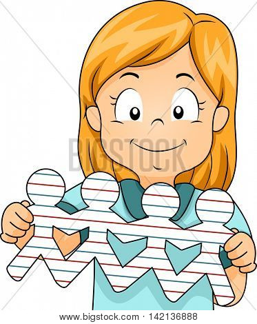 Illustration of a Little Girl Showing People Cutouts