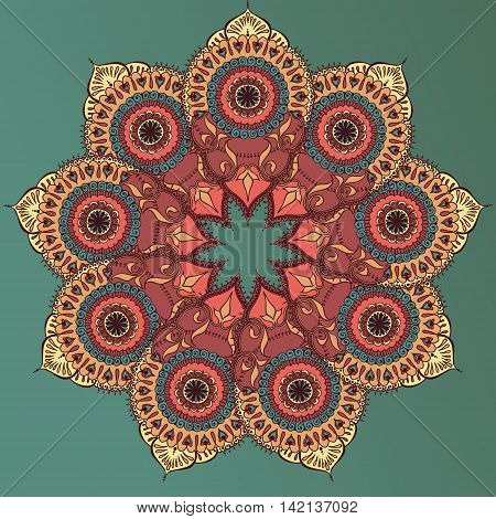 Card with colored circular floral ornament. Round Pattern Mandala. Floral round pattern for the greeting cards invitation template frame design for business style cards or else. Vector illustration