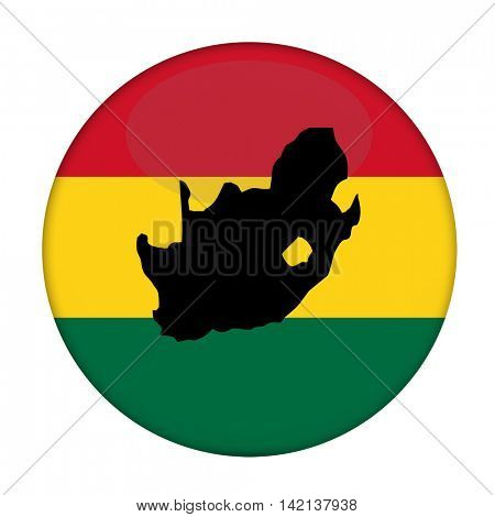 South Africa map on a Rastafarian flag button, white background.