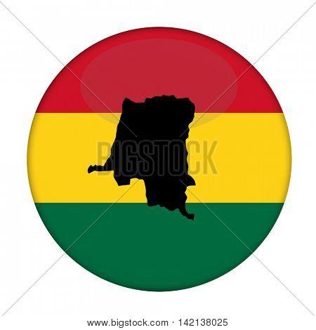 Zaire map on a Rastafarian flag button, white background.