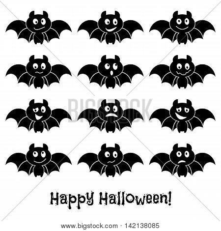 Set of cute Halloween bats. Vector illustration