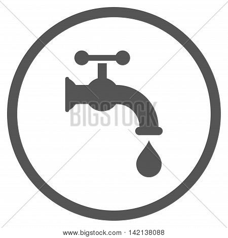 Water Tap vector icon. Style is flat rounded iconic symbol, water tap icon is drawn with gray color on a white background.