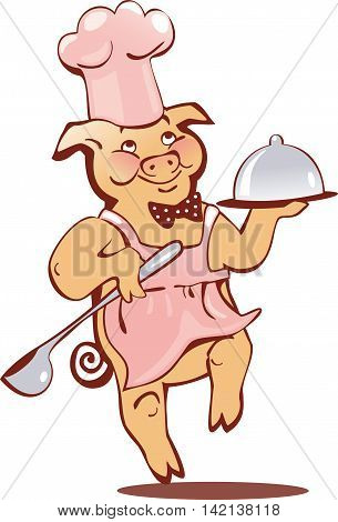 running pink pig in cap with a tray