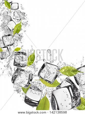 ice cubes with water splashes and fresh leaves, isolated on white background
