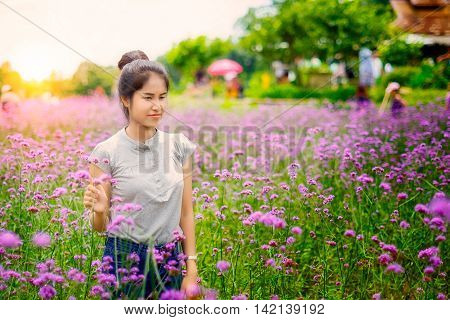 Close up beautiful asian girl in a field with magenta flowers at Monjam Chiang mai Thailand.