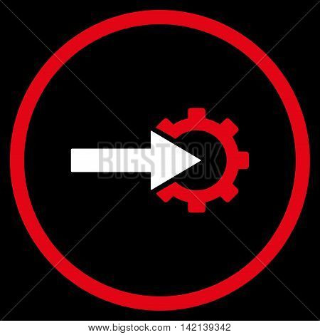 Cog Integration vector icon. Style is bicolor flat rounded iconic symbol, cog integration icon is drawn with red and white colors on a black background.