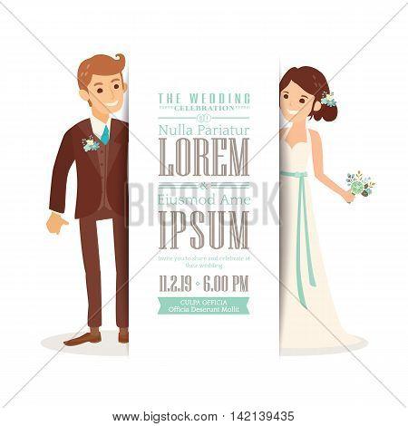 Wedding couple groom and bride cartoon on white background Wedding invitation card template