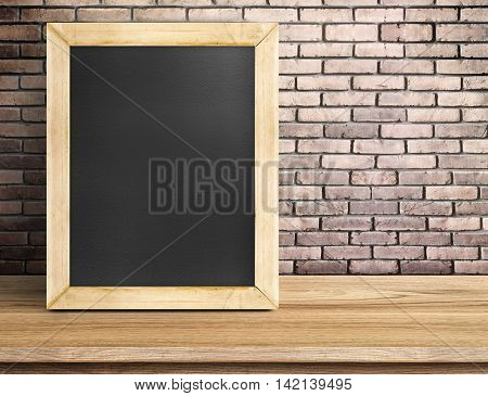 Blank Blackboard On Wooden Table At Red Brick Wall,template Mock Up For Adding Your Design And Leave