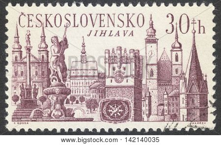 MOSCOW RUSSIA - CIRCA APRIL 2016: a post stamp printed in CZECHOSLOVAKIA shows Jihlava town the series