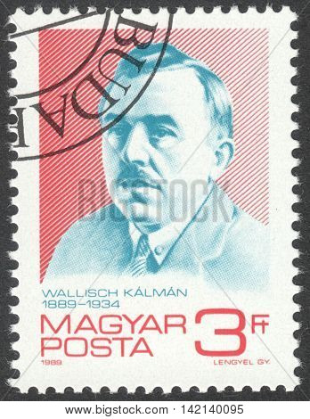 MOSCOW RUSSIA - CIRCA APRIL 2016: a post stamp printed in HUNGARY shows a portrait of Kalman Wallisch devoted to the 100th Anniversary of the Birth of Kalman Wallisch circa 1989