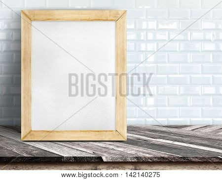 Empty Stone Marble Table And Blurred Pale Plank Wooden Wall In Background
