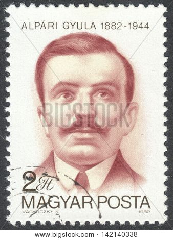 MOSCOW RUSSIA - CIRCA APRIL 2016: a post stamp printed in HUNGARY shows a portrait of Gyula Alpari devoted to the 100th Anniversary of the Birth of Gyula Alpari circa 1982