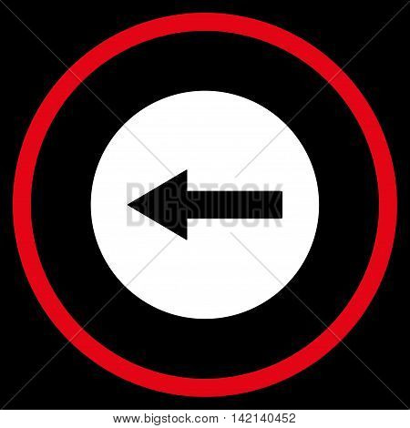 Left Rounded Arrow vector icon. Style is bicolor flat rounded iconic symbol, left rounded arrow icon is drawn with red and white colors on a black background.