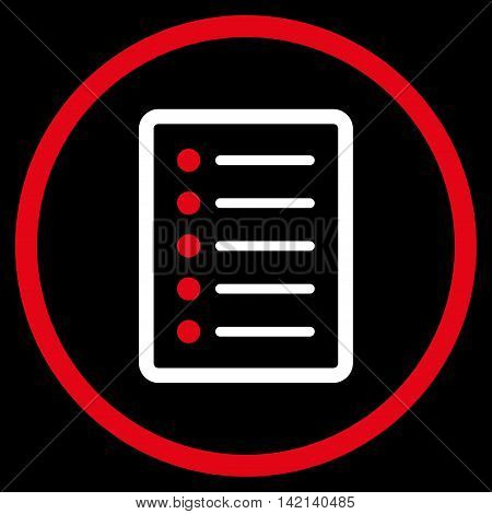 List Page vector icon. Style is bicolor flat rounded iconic symbol, list page icon is drawn with red and white colors on a black background.
