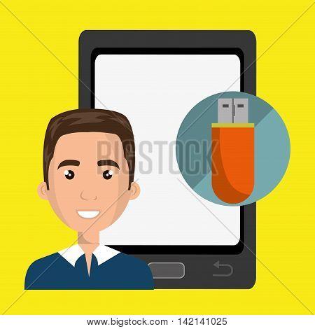 man mobile cellphone usb vector illustration graphic
