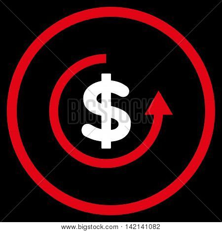 Refund vector icon. Style is bicolor flat rounded iconic symbol, refund icon is drawn with red and white colors on a black background.