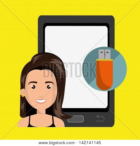 woman mobile cellphone usb vector illustration graphic