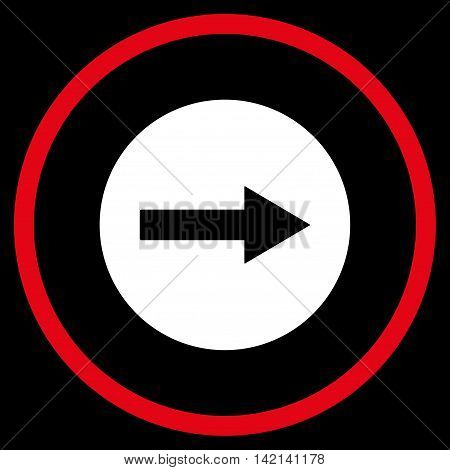Right Rounded Arrow vector icon. Style is bicolor flat rounded iconic symbol, right rounded arrow icon is drawn with red and white colors on a black background.