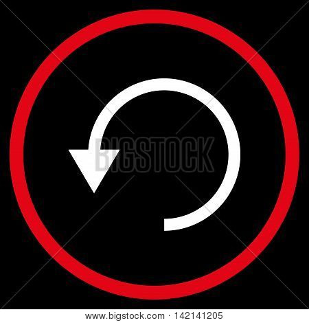 Rotate Ccw vector icon. Style is bicolor flat rounded iconic symbol, rotate ccw icon is drawn with red and white colors on a black background.