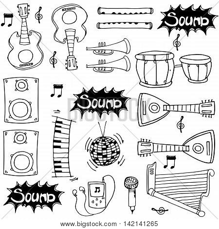 Object hand draw music doodles stock collection