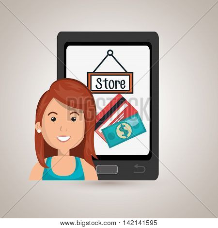 woman cellphone credit card vector illustration graphic