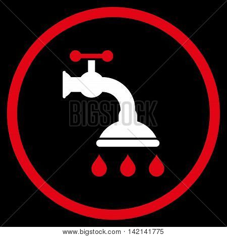 Shower Tap vector icon. Style is bicolor flat rounded iconic symbol, shower tap icon is drawn with red and white colors on a black background.
