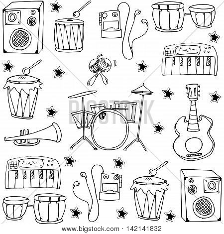 Hand draw music pack doodles collection stock