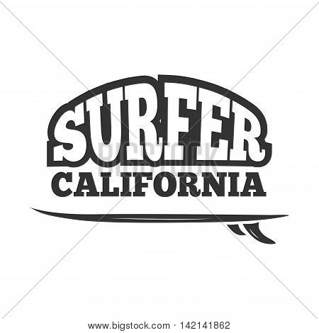 Vintage black vector surf emblem, logo. Badge or banner illustration