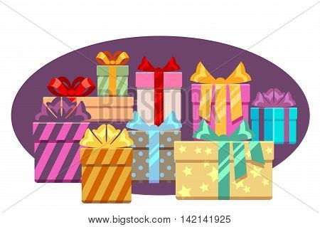 Heap of gift boxes with ribbon bows isolated over white. Heap box for christmas, vector illustration