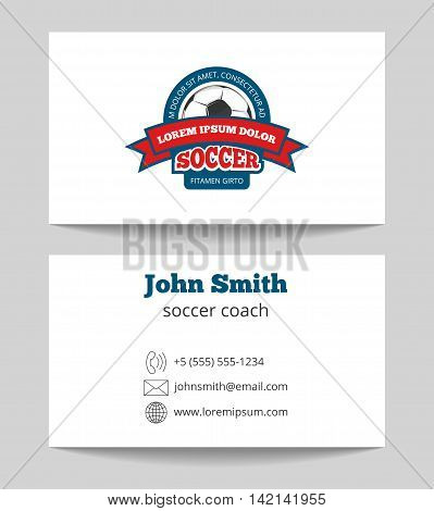 Soccer coach business card template with logo. Plastic football card. Vector illustration