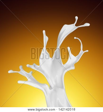 Splash of white fat milk as design element on yellow and brown background