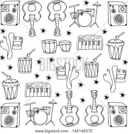 Stock collection music set doodles vector illustration