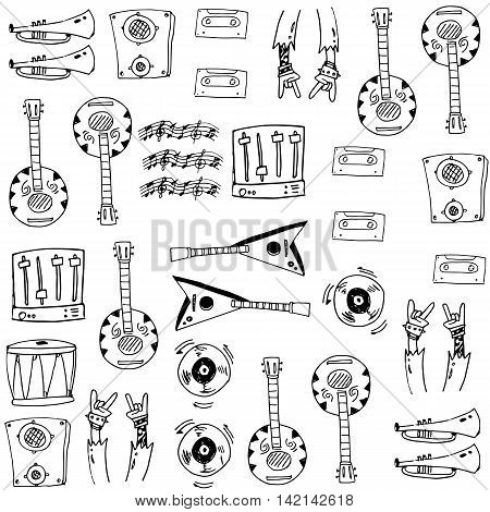 Hand draw music set doodles vector illustration