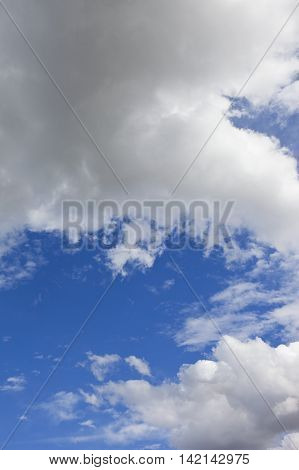 a summer sky background image with white and gray clouds