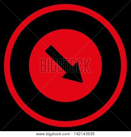 Down-Right Rounded Arrow vector icon. Style is flat rounded iconic symbol, down-right rounded arrow icon is drawn with red color on a black background.