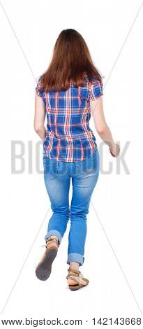 back view of running  woman. beautiful girl in motion. backside view of person.  Rear view people collection. Isolated over white background. Girl in plaid shirt runs off into the distance.